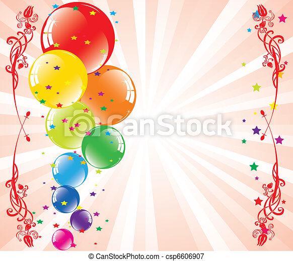 vector festive balloons and light-burst with space for text - csp6606907