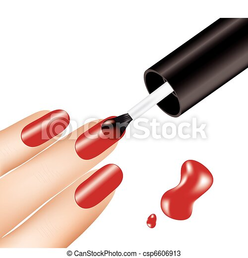 woman applying red nail polish on fingers, vector - csp6606913