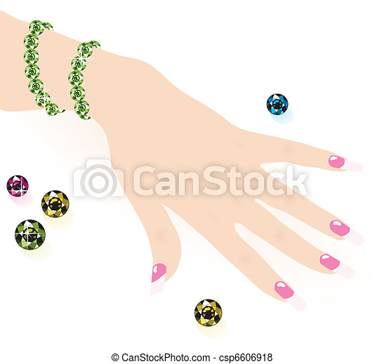 green emerald bracelet on woman hand, vector - csp6606918