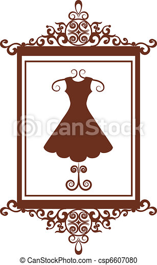 retro fashion boutique sign with dress - csp6607080