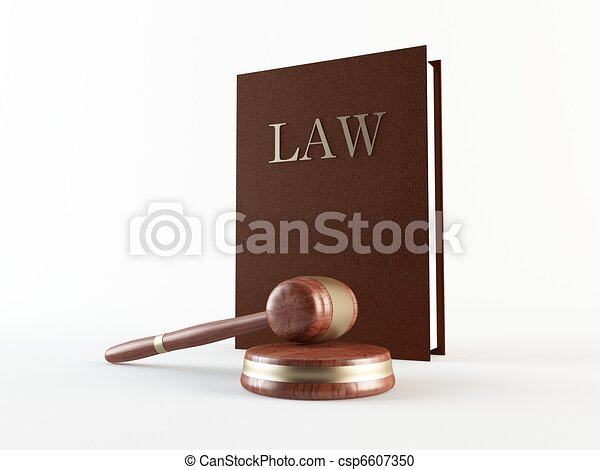 Law book and gavel - csp6607350