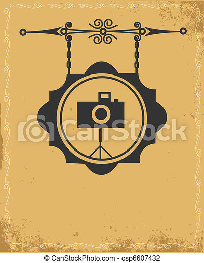 antique street sign of photo store - csp6607432