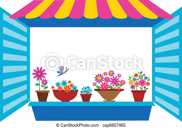 open window with flowerpots - csp6607465