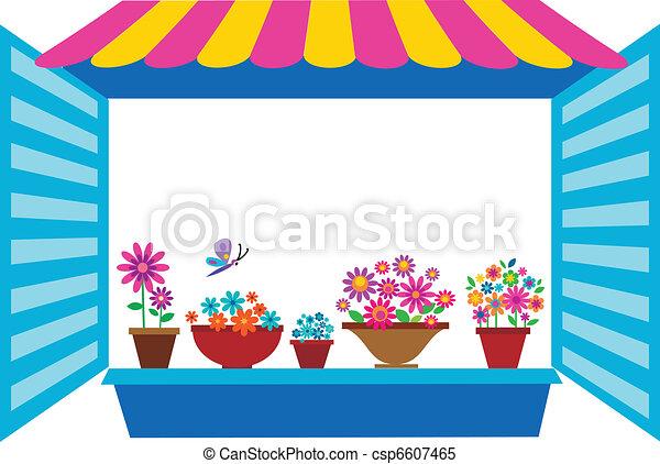 open window with flowerpots - csp6607465