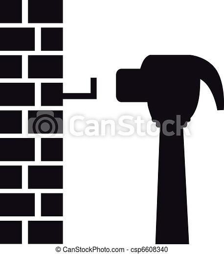 Hammer Hitting Nail - csp6608340