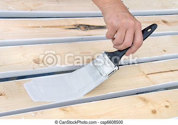 Painting wooden slats - csp6608500
