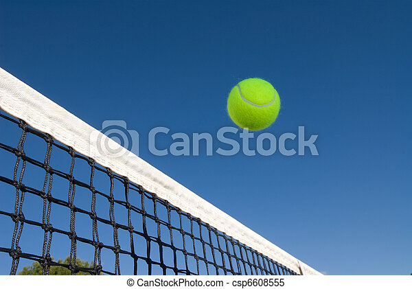 An image depicting the concept of tennis, including a ball gliding over the net in a blue outdoor setting