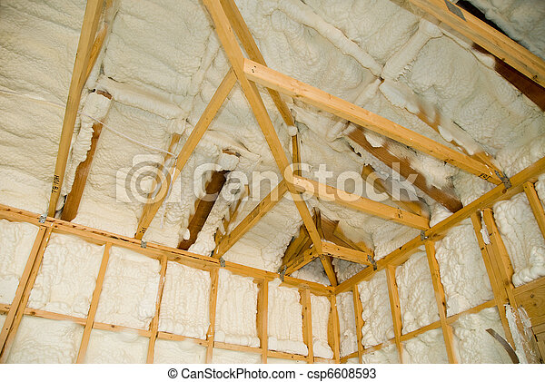 Newly sprayed insulation  - csp6608593