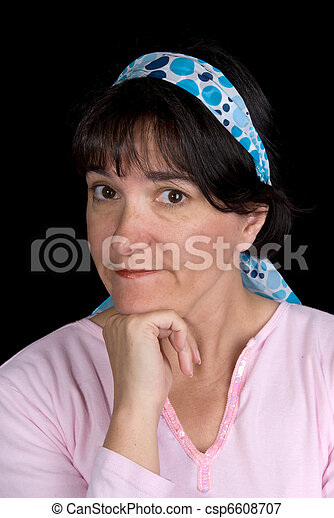 Woman pondering - csp6608707
