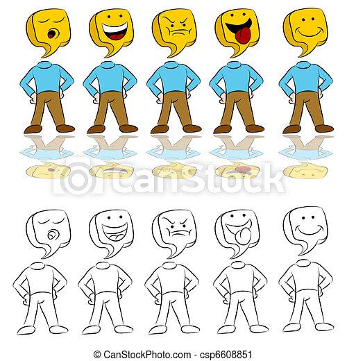 Emotion Expressions Icon Man - csp6608851