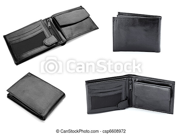 black leather wallet finance money - csp6608972