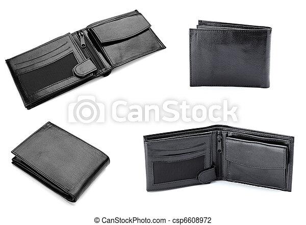 black leather wallet finance money - csp6608972