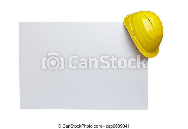 construction helmet protective workwear and note paper - csp6609041