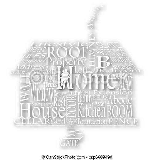 Cutout home words - csp6609490