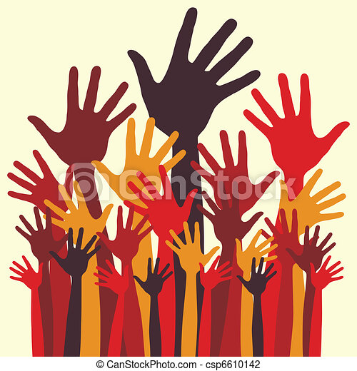 Large group of happy hands. - csp6610142