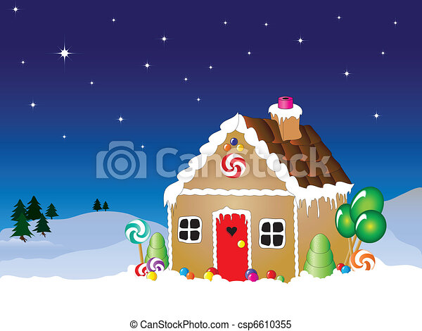 Gingerbread house scene - csp6610355