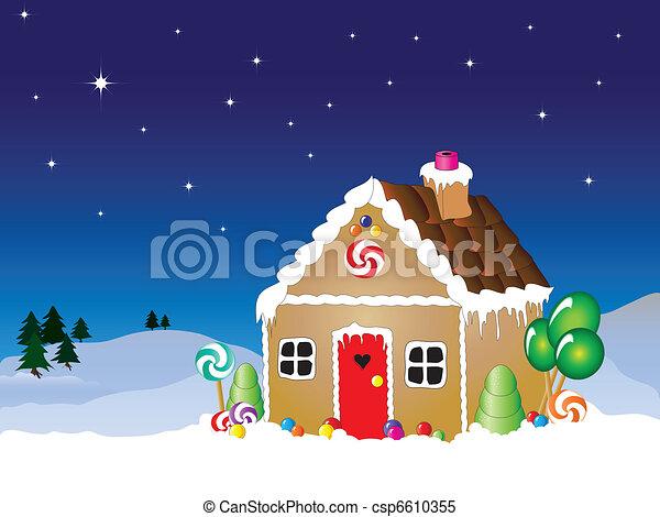 Gingerbread house scene - csp6610355