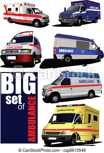 Big set of Modern ambulance van.  - csp6610548