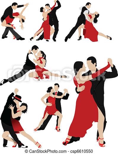 Couples dancing a tango - csp6610550