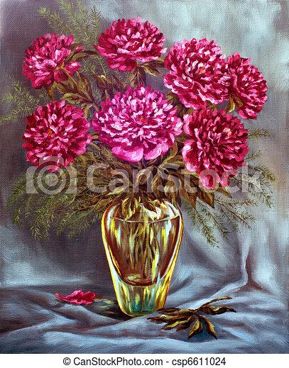 zeichnung von pfingstrosen glas vase picture oel farben auf a csp6611024 suchen sie. Black Bedroom Furniture Sets. Home Design Ideas