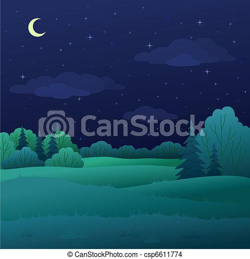 Landscape, night summer forest - csp6611774