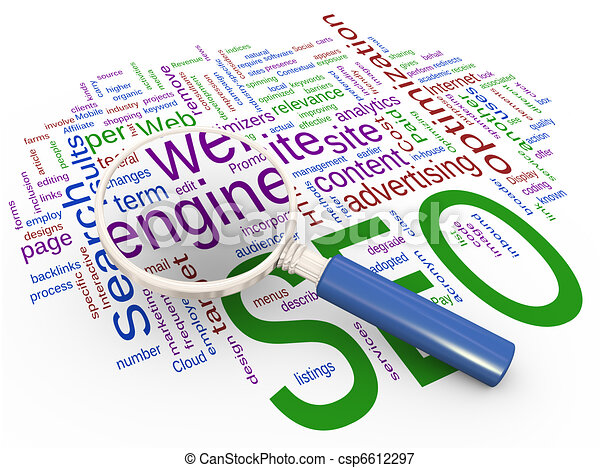 Magnifier and Wordcloud of SEO  - csp6612297