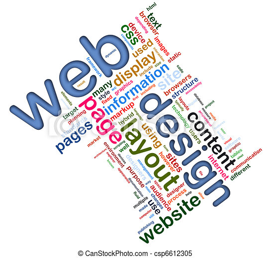 Wordcloud of Web design - csp6612305