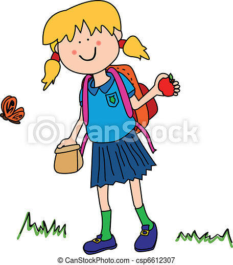 Ilustraciones vectoriales de poco, niña, yendo, espalda, escuela ...