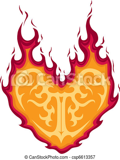 Flaming Heart Tattoo - csp6613357