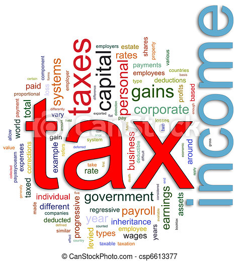 Wordcloud of Income tax - csp6613377