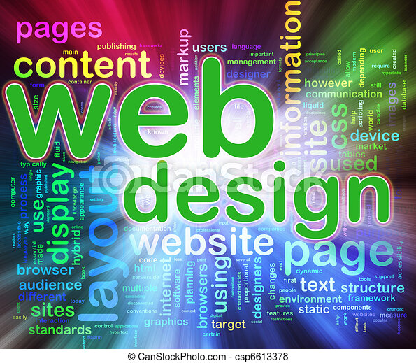 Wordcloud of Web design - csp6613378