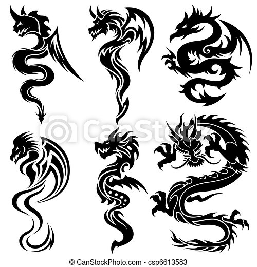 Set of the Chinese dragons, tribal  - csp6613583