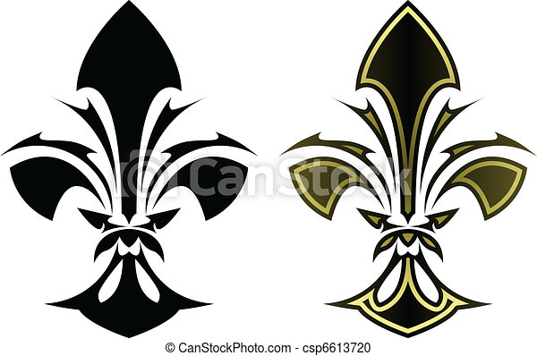 Clipart vecteur de tatouage de fleur lys fleur de lys symbole dans csp6613720 - Dessin fleur de lys royale ...