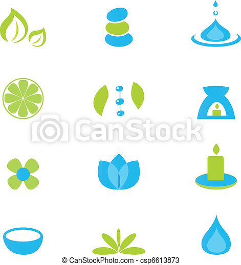 Zen, nature and relaxation icon set - isolated on white. Vector collection