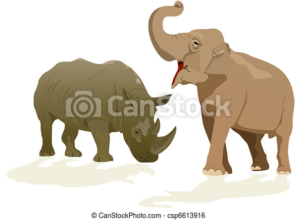 Elephant and rhino - csp6613916