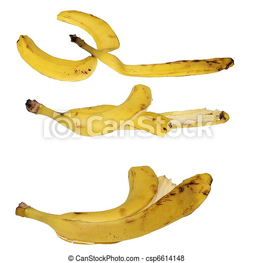 Set banana peel isolated on white - csp6614148