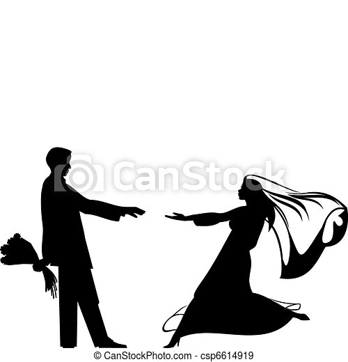 Bride and groom silhouettes for wedding design Save Comp