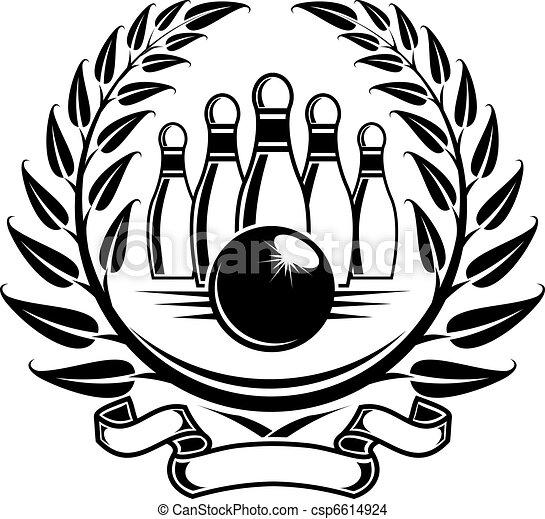 Eps Vector Of Bowling Symbol In Laurel Wreath In Retro
