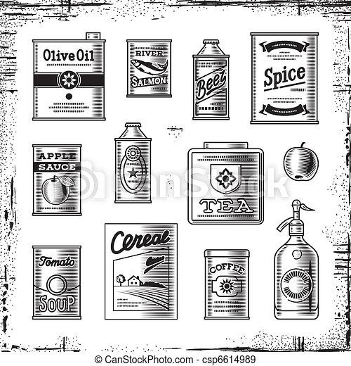 Retro grocery set black and white - csp6614989