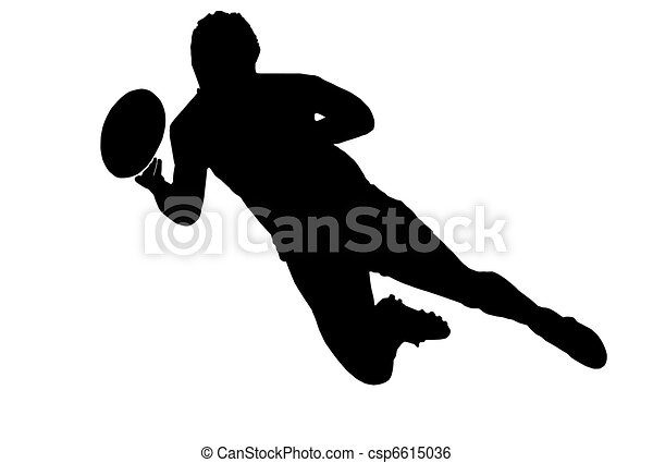 Sport Silhouette - Rugby Football Scrumhalf Passing Ball - csp6615036