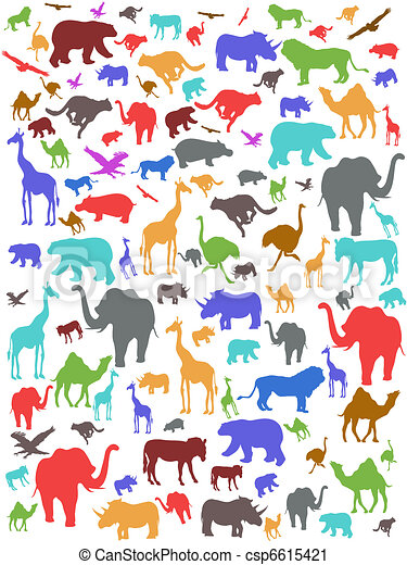Seamless colorful african animals pattern - csp6615421