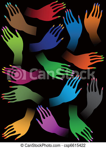 Creative colorful female hands on black background - csp6615422