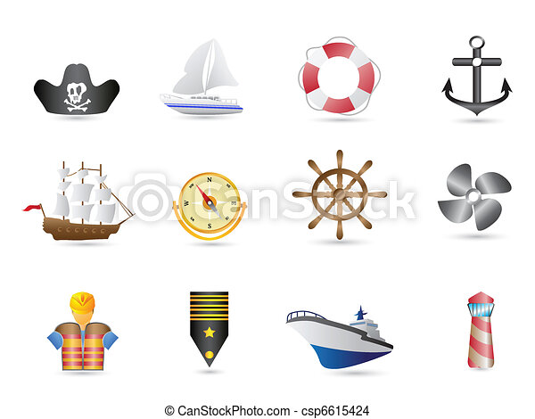 Marine, Sailing and naval icons  - csp6615424