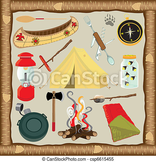 Camping Icons and Elements - csp6615455