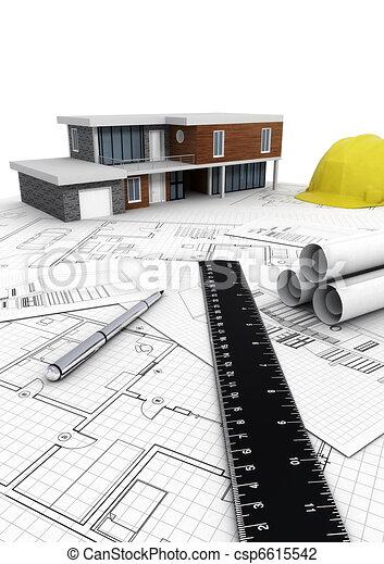 Modern House construction - csp6615542