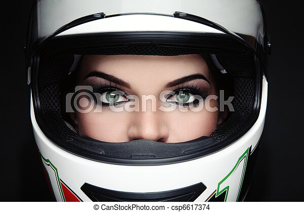 Woman in biker helmet - csp6617374