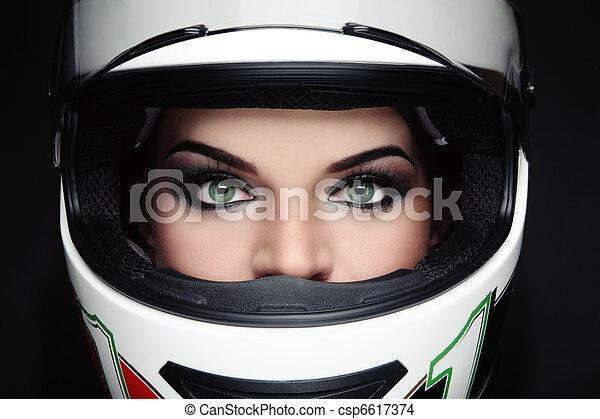 Woman in biker helmet - csp6617374
