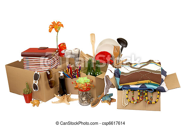 Transport cardboard boxes, relocation concept - csp6617614