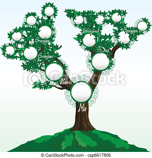 Family tree with place for photos or names, vector illustration 