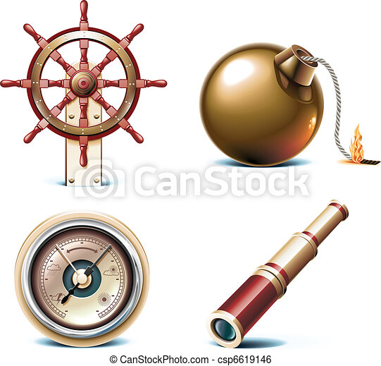 Vector marine travel icons. - csp6619146